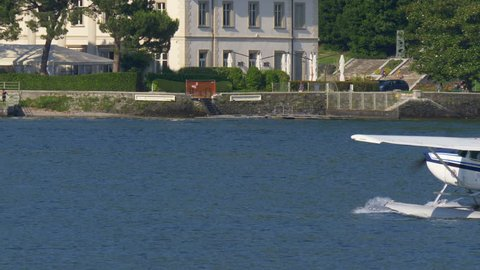 Floatplane preparing to take off on Lake Como in Italy