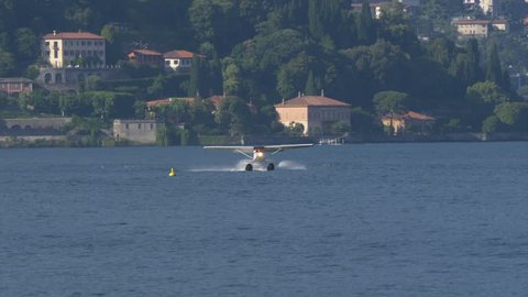 Floatplane taking off from Lake Como in Italy