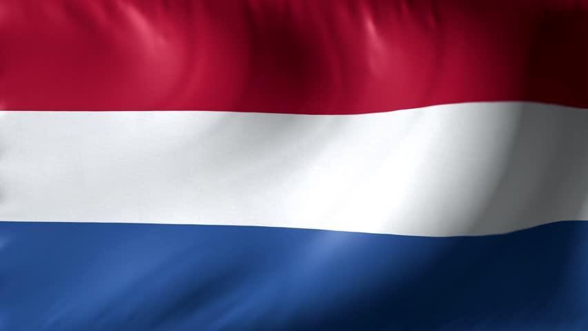 National flag of Netherlands. Seamless looping 4k full realistic dutch flag waving against background.