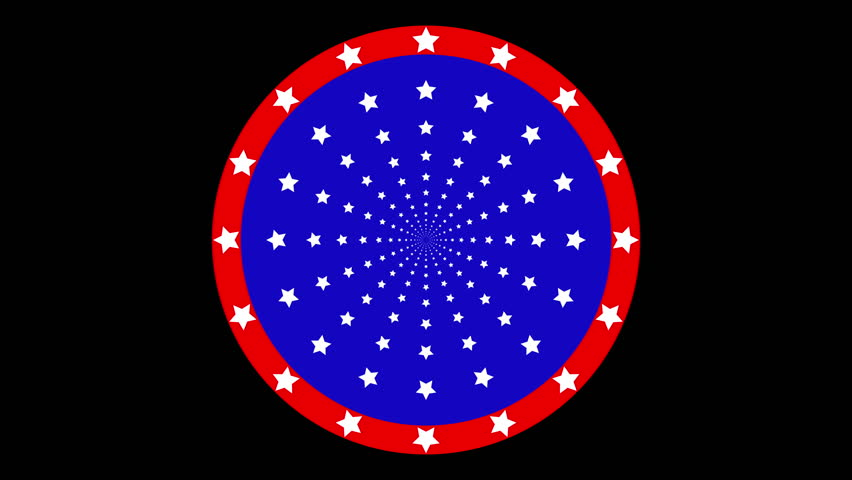Stars moving pattern animation.  Blue, red, white color in circle move animation like American logo.