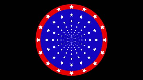 Stars Moving Pattern Animation Blue Red White Color In Circle Move Animation Like American Logo