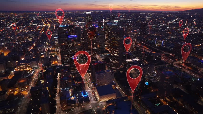 Aerial smart city. Localization icons in a connected futuristic city.   Technology concept, data communication, artificial intelligence, internet of things. Los Angeles skyline. | Shutterstock HD Video #1014944245