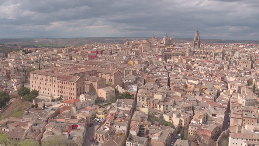 Toledo, Spain - April, 2017: Aerial shot of Toledo's buildings, Spain. | Shutterstock HD Video #1014951235