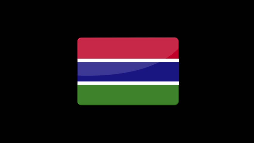Flag of The Gambia Beautiful 3d animation of The Gambia flag in loop mode.The Gambia flag animation