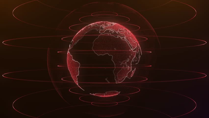 Planet earth rotating animation future technology business concept. Digital shiny globe of Earth. Rotation of glossy planet with glowing particles | Shutterstock HD Video #1015023205
