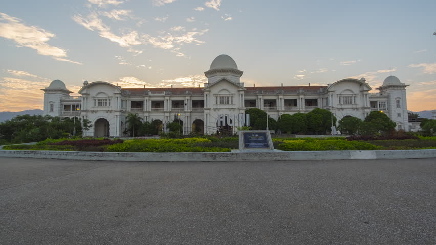 Timelapse of Majestic Ipoh Railway Station during Sunset With Beautiful Cloud at Ipoh,Malaysia.1080HD Resolution.Prores.