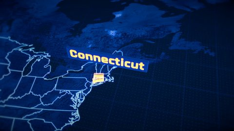 US Connecticut state border 3D visualization, modern map outline, travel