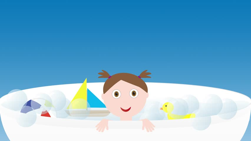 Little cute baby girl in a bath with toys - boat, duck and ball