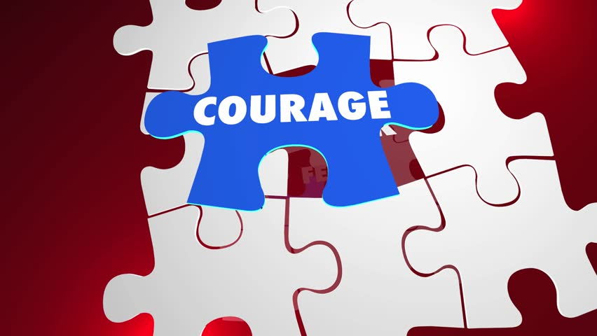 Courage Vs Fear Bravery Unafraid Puzzle Words 3d Animation
