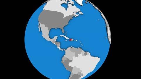 Zooming on Haiti on slowly rotating political globe. 3D animation.
