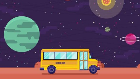 Animation of the swaying yellow school buson the surface of red planet. Bus riding on mars. Wiggle animation. Back to school.