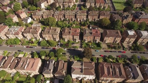 Aerial view of Georgian town houses and streets in Clifton, Bristol, drone shot