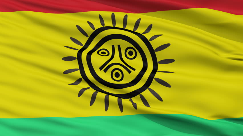 The Jatibonicu Taino Tribal Nation Indian Flag, Closeup View Realistic Animation Seamless Loop - 10 Seconds Long