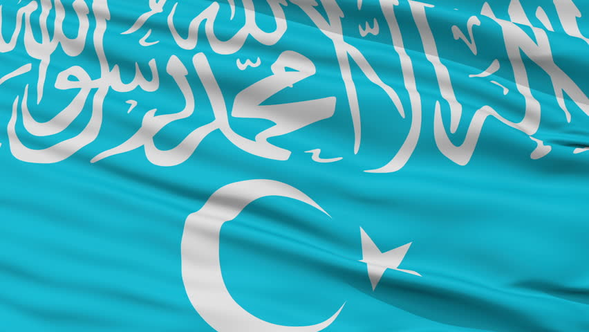 Turkistan Islamic Party Flag, Closeup View Realistic Animation Seamless Loop - 10 Seconds Long