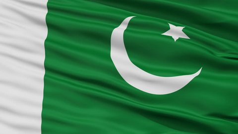 Naval Ensign Of Pakistan Flag, Closeup View Realistic Animation Seamless Loop - 10 Seconds Long