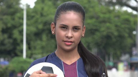 Serious Hispanic Teen Girl Soccer Athlete