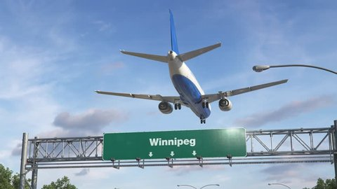 Airplane Landing Winnipeg