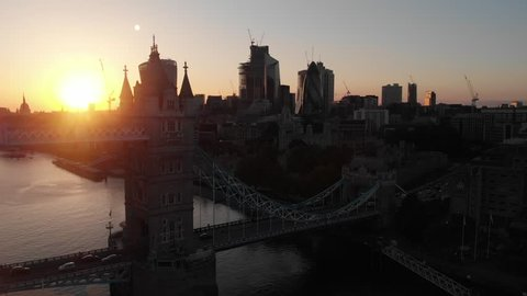 The north side of tower bridge with London city CBD and an amazing sunset in the background.