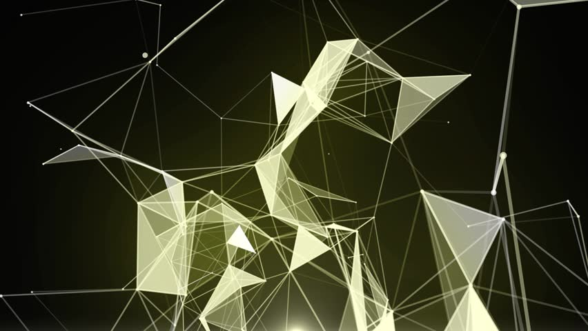 Plexus of abstract gold geometrical lines with moving triangles and dots animations. | Shutterstock HD Video #1015244065