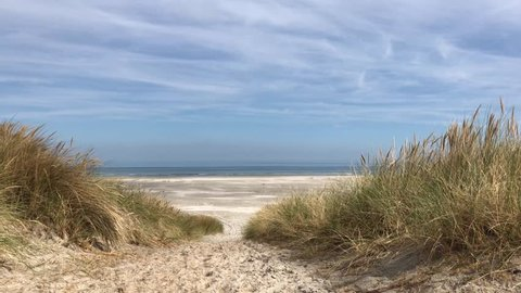 Path towards the beach on Ameland island in Friesland The Netherlands