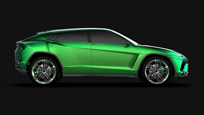 The newest sports all-wheel drive green premium crossover in a black studio | Shutterstock HD Video #1015258945