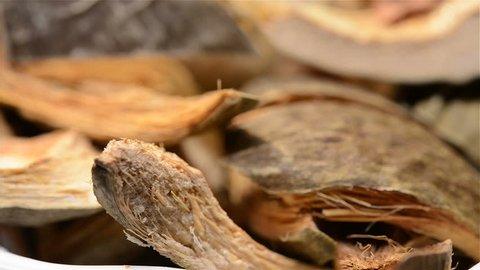 Chinese herb medicine of Arecae Pericarpium or Areca Peel rotating close up