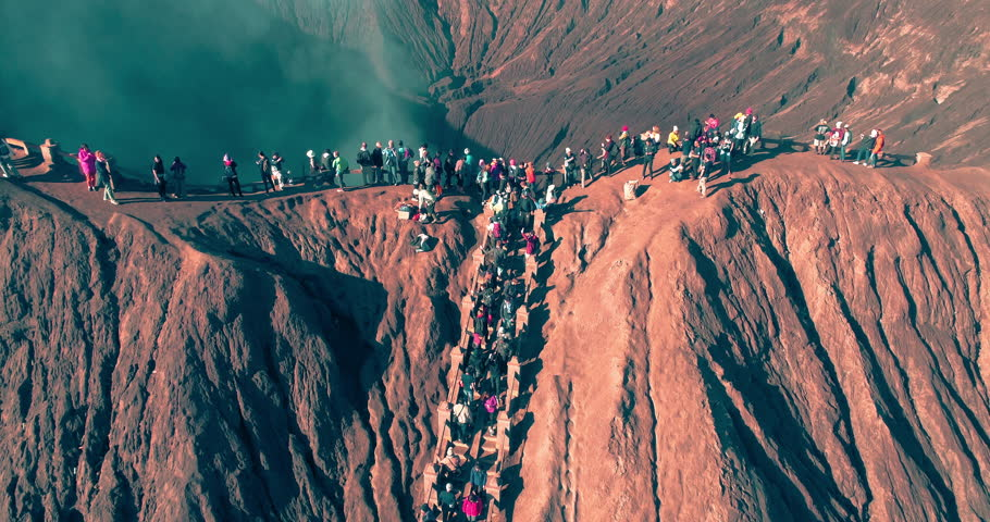 Aerial view of Tourist climbing the crater of Mount Bromo, Indonesia