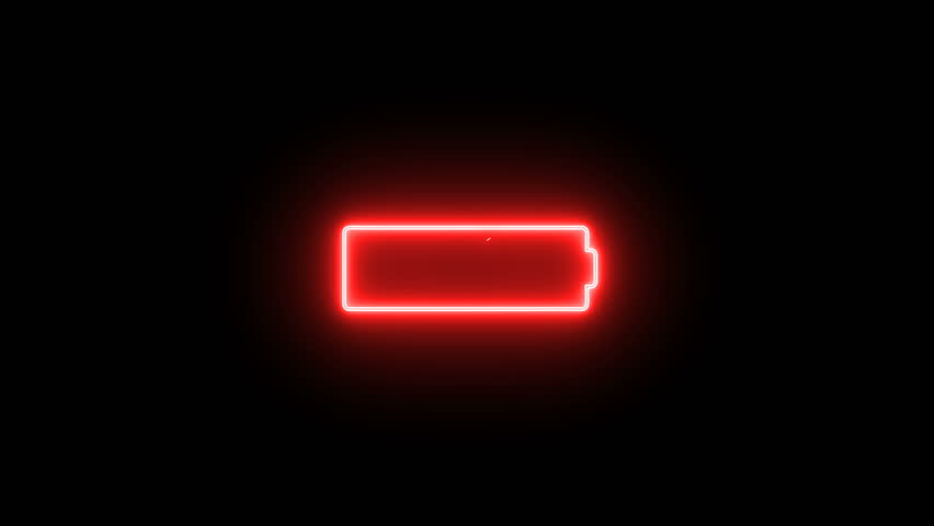Animation icon of the red neon battery sign showing its out of charge on the black background.