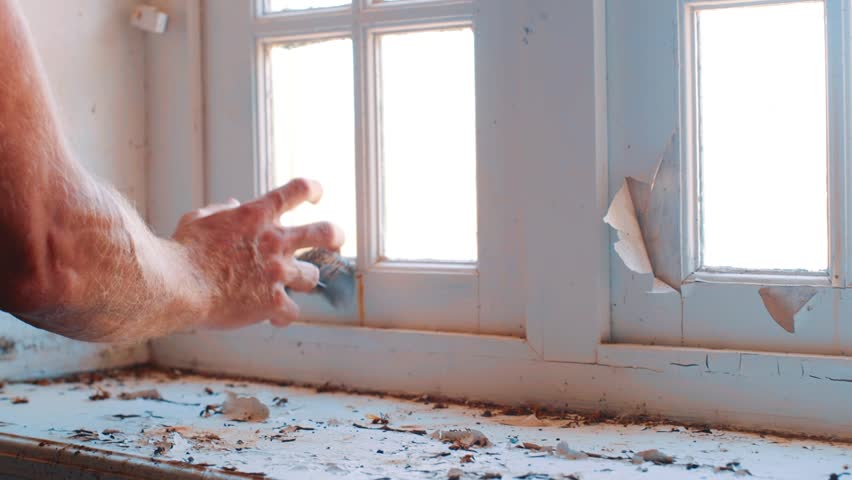 Hand holding bird trapped at a window in a abandoned house. Willemstad, Curacao.