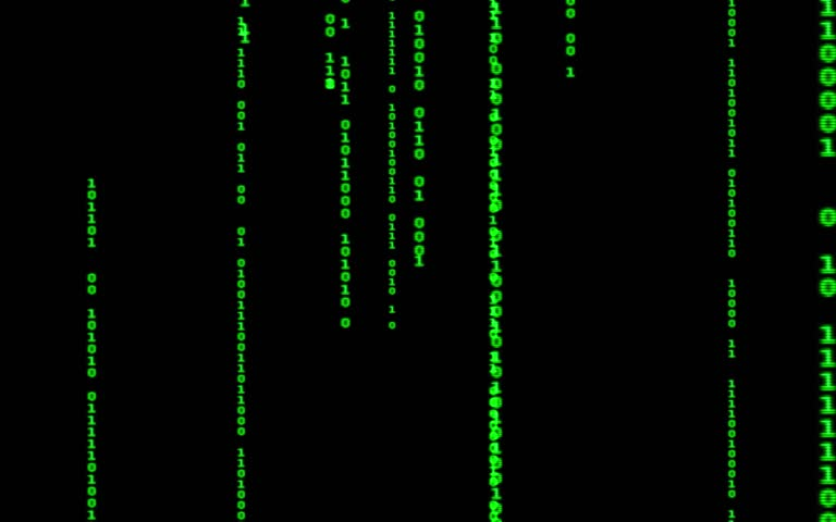 Digital binary data, streaming code background. Matrix background. Programming / Coding / Hacker concept. Cyberspace with green digital falling lines, abstract background, binary chain. Crypto space. | Shutterstock HD Video #1015388395