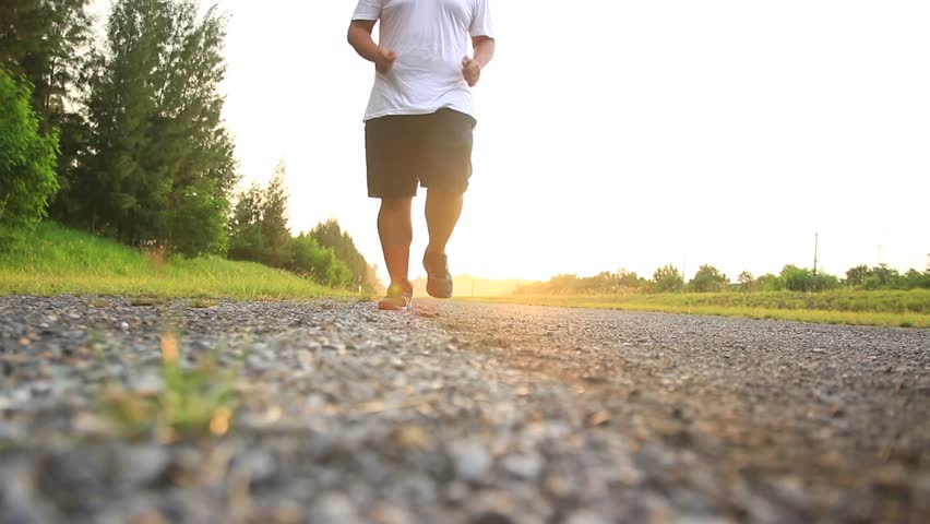 Man running with Light exercise, beautiful light, happy | Shutterstock HD Video #1015389205