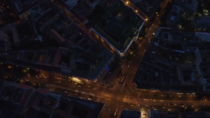 Night view of residential area in downtown Budapest, Hungary during night - drone video | Shutterstock HD Video #1015466755