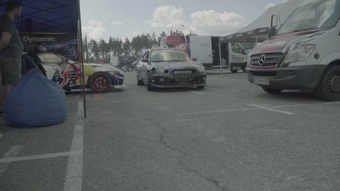 KYIV, UKRAINE – JUNE 29, 2018. Sport racing car in pitstop. Slow motion