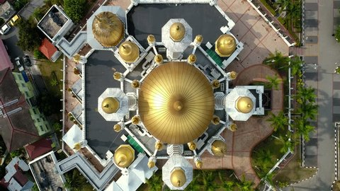 Aerial view of a public mosque, known as Ubudiah Mosque located in Kuala Kangsar,Perak,Malaysia.The mosque was built at the royal command of Sultan Idris Murshidul Azam Shah, Sultan Perak(1887 – 1916)