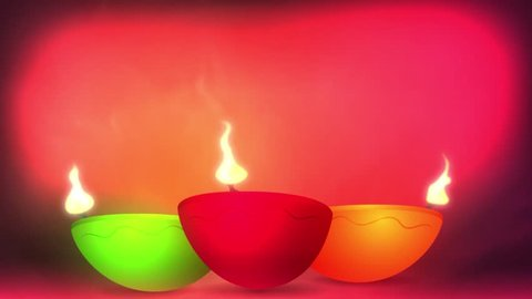 Happy Diwali animation with beautiful colors. Three diya candels