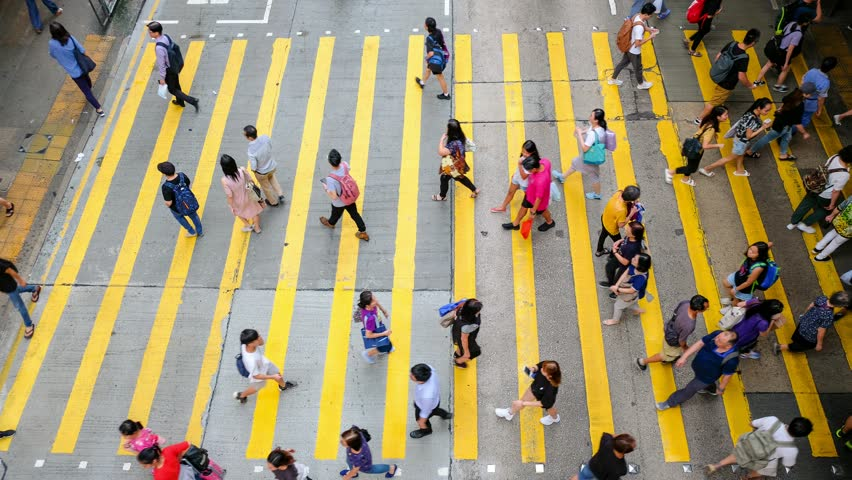 Busy pedestrian crossing at Hong Kong - time lapse | Shutterstock HD Video #1015587985