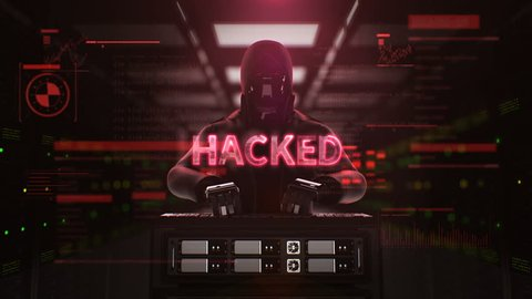 Robot, Cyborg Hacker working on a server computer with typo 'HACKED' Security artificial intelligence, 4K animation.