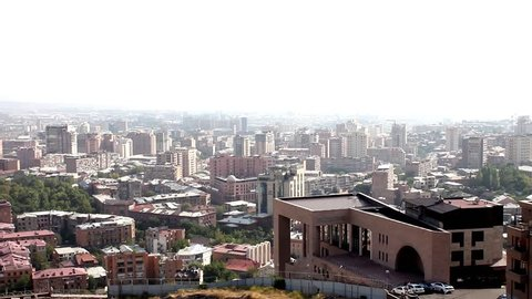 Armenia, Yerevan city, view monument, panorama, horizon. Buildings in summer sunny day, opera build. FHD.