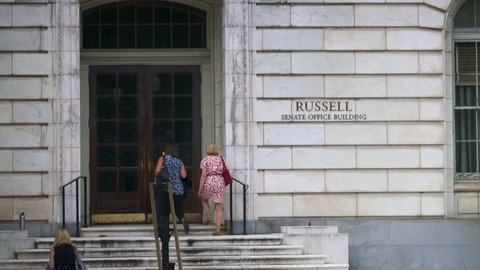 Russell Senate Office Building entrance in Washington DCRussell Senate Office Building entrance in Washington DC