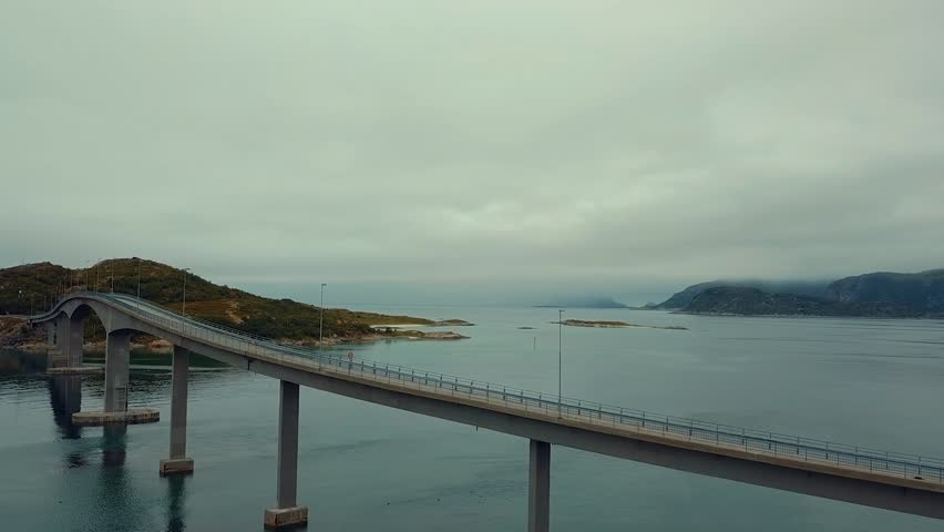 A drone footage of a bridge from northern Norway | Shutterstock HD Video #1015627645