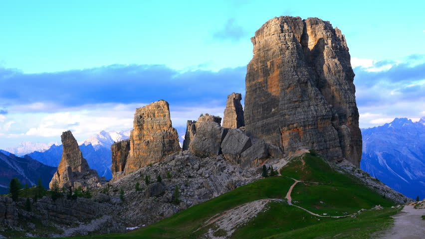 Time lapse of Evening sunlight shining on the Granite Towers at Cinque Torri in the Cortina Dolomites, Italy