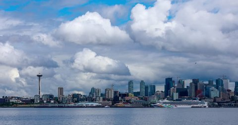 Seattle, Washington - June 31, 2018 : Seattle Skyline Panoramic, viewed from Seacrest Park