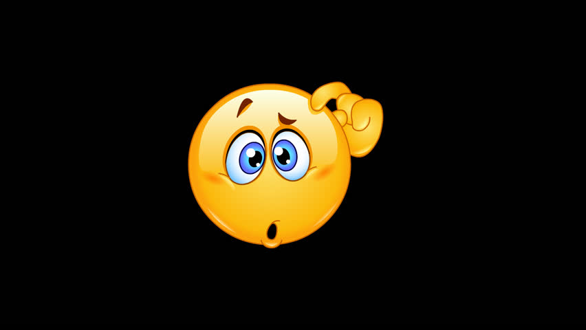 Animation of a confused emoticon scratching his head including alpha channel | Shutterstock HD Video #1015663375