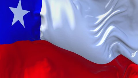 Chile Flag Waving in Wind Slow Motion Animation . 4K Realistic Fabric Texture Flag Smooth Blowing on a windy day Continuous Seamless Loop Background.
