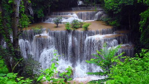 Huai Mae Kamin, beautiful waterfall, travel destination,  in Kanchanaburi, Thailand