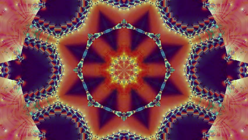 Colored kaleidoscope sequence patterns. Abstract multicolored motion graphics background. Or for yoga, clubs, shows, mandala, fractal animation. Beautiful bright ornament. Seamless loop.   Shutterstock HD Video #1015691305