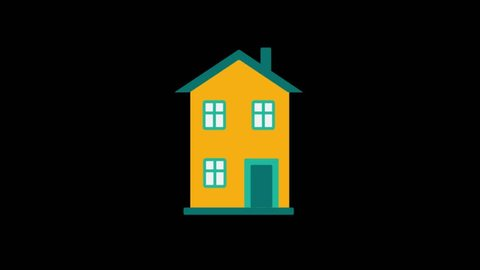 Real estate icon animation with black png background.House icon animation with black png background.