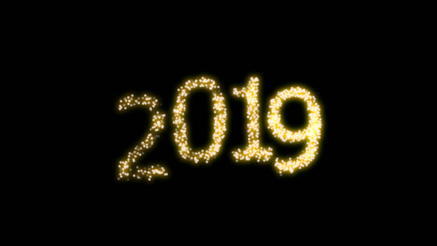 Happy New Year 2019 Video Animation with dynamic particles with alpha clip. For designing animated greeting cards and banners.
