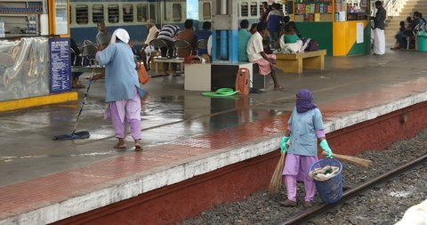 Cleaning People at Train Station 11th Feb 2018 Hyderabad India