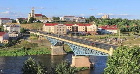 Panoramic view of Grodno with bridge over Neman river, Belarus